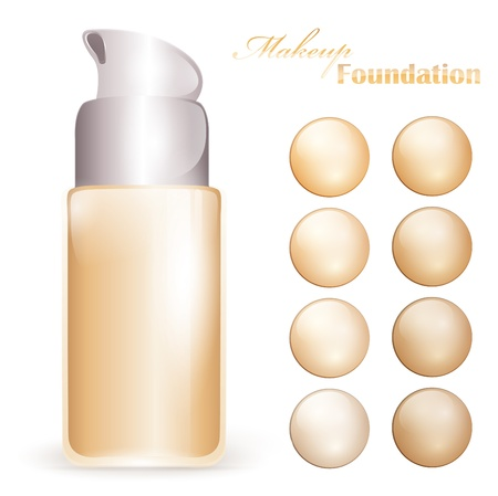 foundation: makeup foundation bottle with colors pallet Illustration