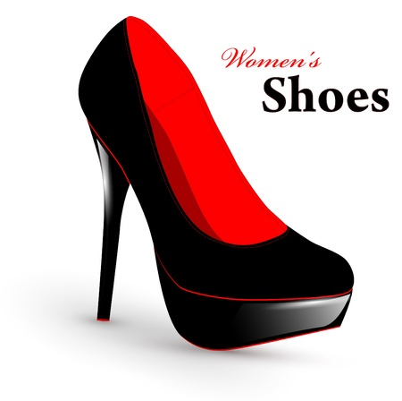 leather shoe: Illustration of fashion high heel woman single shoe