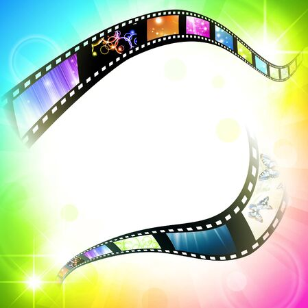 cinematography: film frame with different subjects over multicolored background, copyspace