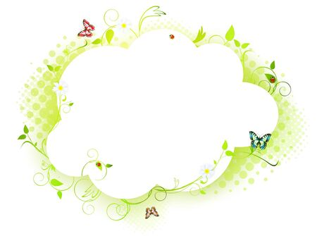 summer floral frame with with butterflies and flowers