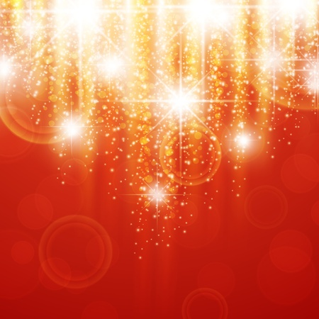 glimmer: red holiday background with bright stars