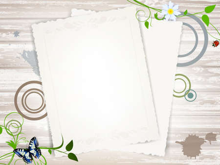 table scraps: Vintage paper blank at wooden background over green leaves, copyspace