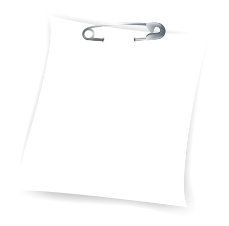 pin board: Illustration of paper sheet attached with metal safety pin over white background, copyspace Illustration