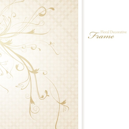 the sprouting: illustration of decorative floral frame in beige, copyspace