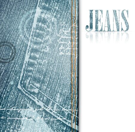 jeans background: illustration of grunge jeans frame, copyspace Illustration