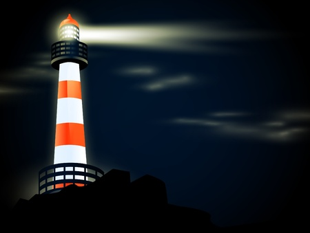 illustration of lighthouse at coastline in the night