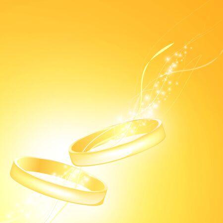 anillos de boda oro sobre fondo mágico
