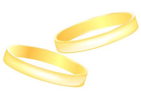 anillos de boda oro sobre fondo blanco