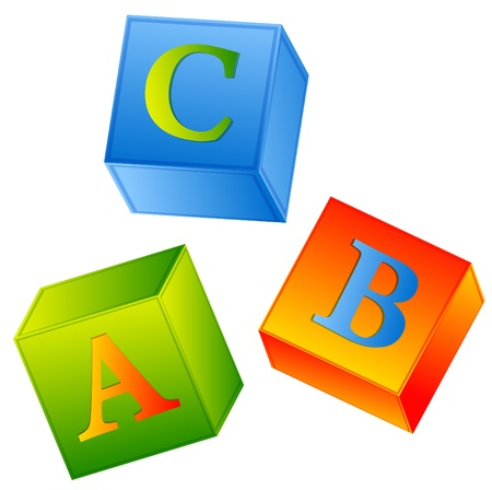block letters: multicolored abc cubes over white background