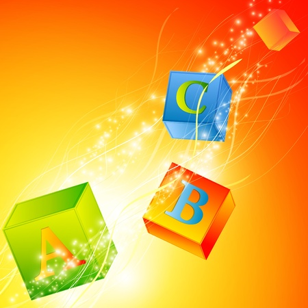 literate: multicolored abc cubes over magic background Illustration