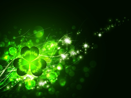 clovers: St.Patrick holiday night magic background with clover