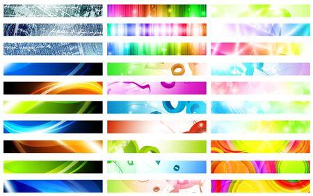 Mega pack of bright multicolored web banner set over white Stock Vector - 10415852