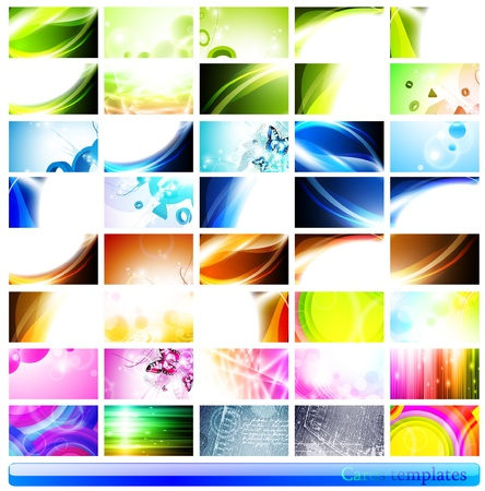 variety of 40 horizontal abstract business cards templates  Stock Vector - 10415853