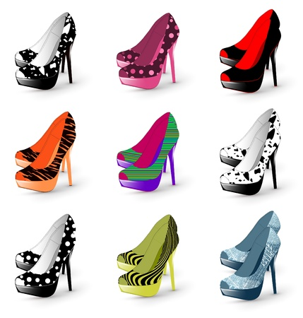 Illustration of fashion high heel woman shoes collection Çizim