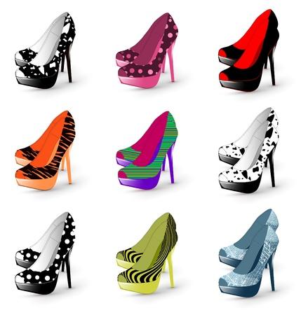 tacones negros: Ilustración de la mujer de tacón de moda zapatos de colección Vectores
