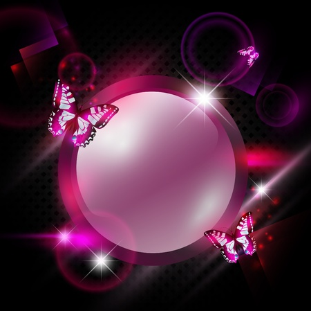 bright Fashoin pink abstract background with round frame and butterflies  Çizim