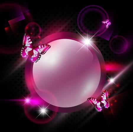 papillon rose: lumineuses Fashoin rose fond abstrait avec cadre rond et des papillons Illustration