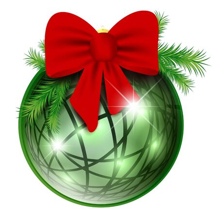 pine branch: New year ball with red bow and pine branch over white background