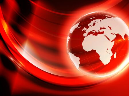 world globe over abstract red and golden background Çizim