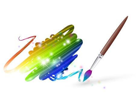 brocha de pintura: colores del arco iris de dibujo con pincel sobre blanco