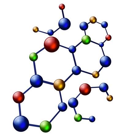 mehrfarbige Abbildung Molekül über weißem Hintergrund