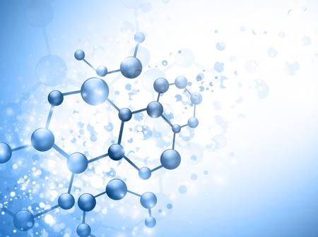 quimica organica: molécula de ilustración sobre fondo azul con copyspace para su texto