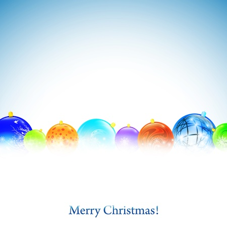 newyear card: Christmas background with New year decorative balls and copyspace
