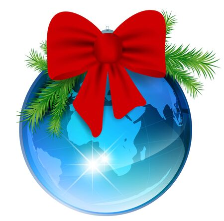 World New year ball with red bow and pine branch over white background  Vector