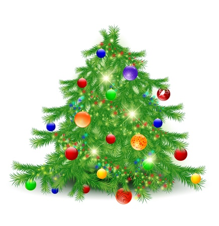 christmastree: Illustration of decorated Christmas tree over white