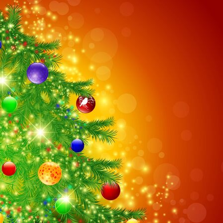 christmastree: Illustration of decorated Christmas tree over bright background