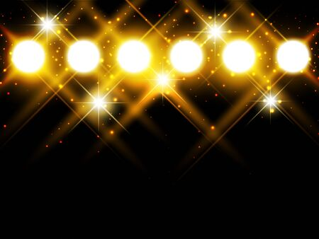 spotlights with stars over dark background, copyspace Illustration