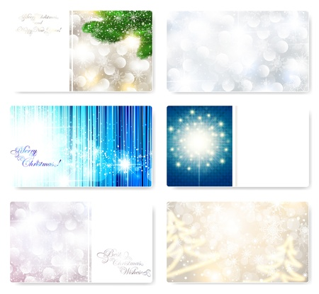 corporative: Set of Christmas and New year card templates with snowflakes and copyspace Illustration