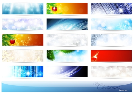 banner effect: bright multicolored Christmas and New Year banner set over white