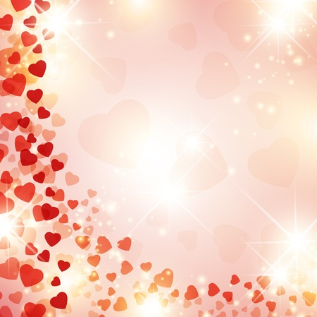 Valentine day background with red drapery and stars