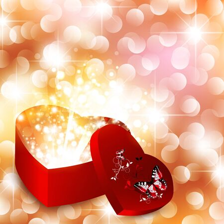 Valentine day background with magic gift box and stars Vector