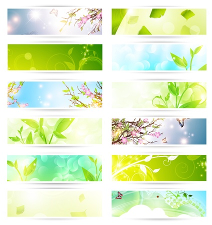 bright multicolored eco banner set over white Stock Vector - 12067461