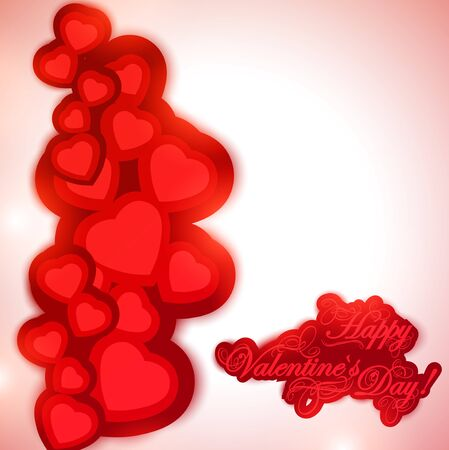 Valentine day background with greetings and hearts Vector
