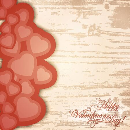 Valentine day wooden background with greetings and hearts Vector