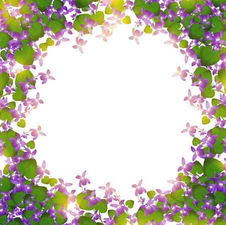 violas: border of wild violet over white background Illustration
