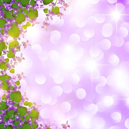 fleurs des champs: fronti�re de vacances de violette sauvage sur fond �toiles Illustration
