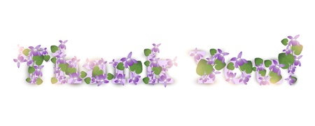 Thank you! Greeting card with violet flowers Vector