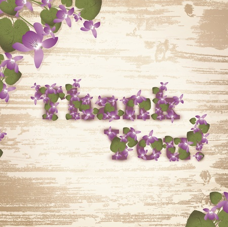 Thank you! at natural wooden background with violet flowers Vector