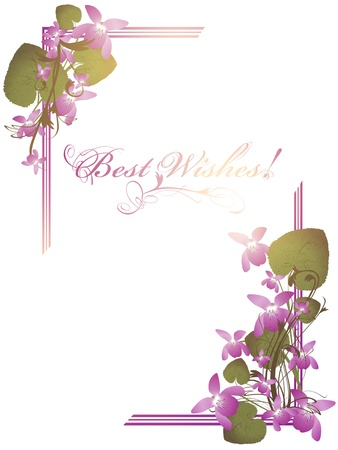 Best Wishes postcard with bunch of wild violet over white background Stock Vector - 12250535