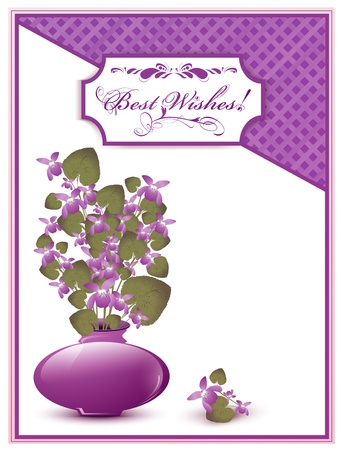 Best Wishes postcard with bunch of wild violet over white background Vector