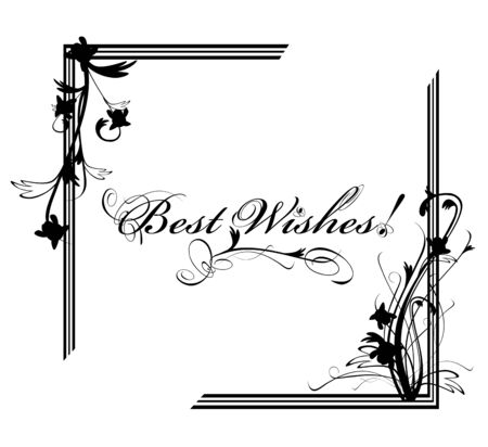 Best Wishes postcard with floral frame in black and white Stock Vector - 12250530