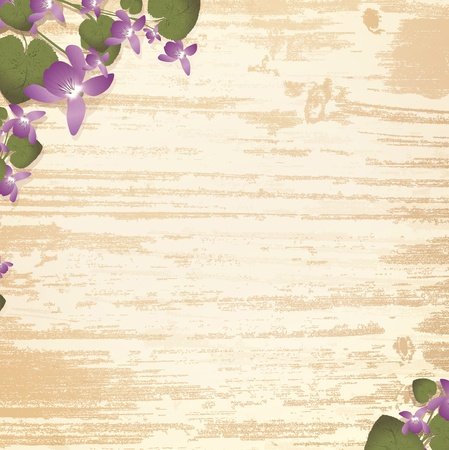 natural wooden background with violet flowers,copyspace Stock Vector - 12250539