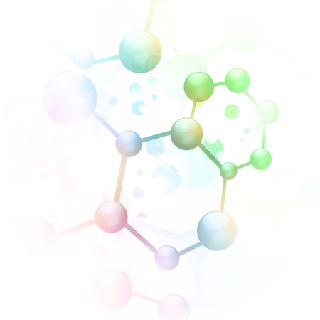 abstract molecule illustration over white background Stock Illustratie