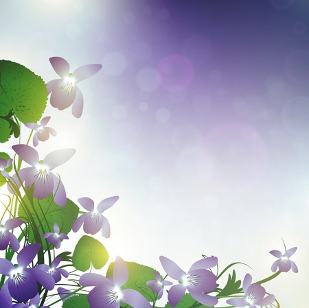 wild violet over blue background with bokeh Stock Vector - 12486525