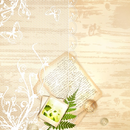 Vintage lace decorative frame with old nature photo and letter at wooden background Vector