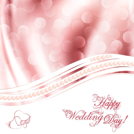 wavy fabric: Wedding greetings over fabric drapery pink background
